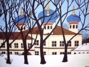 Onion Domes Painting Posters - Russian Orthodox Church Poster by Stephanie Moore