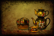 Teapot Posters - Russian Tea Room Poster by Evelina Kremsdorf