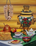 Realism Mixed Media Originals - Russian Tea Time with Samovar by Ksusha Scott