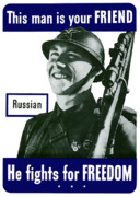 Russian Framed Prints - Russian This Man Is Your Friend Framed Print by War Is Hell Store