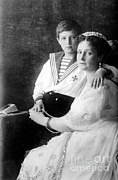 Alexandra Framed Prints - Russian Tsarina Alexandra & Tsarevich Framed Print by Photo Researchers