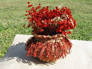 Raffia Sculptures - Rust basket by Beth Lane Williams