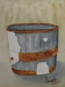 Barrel Painting Originals - Rusted Barrel by Amanda Burek