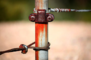 Metal Pole Photos - Rusted Fence Post 1 by Lon Casler Bixby