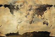 World Map Poster Photo Prints - Rusted Metal World Map Print by Stephen Walker