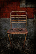 Rural Decay Posters Photos - Rusted Red by Larysa Luciw