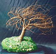 Sal Villano Art - Rusted Wind Swept - Wire Tree Sculpture by Sal Villano