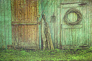 Barn Door Photo Prints - Rustic barn doors with grunge texture Print by Sandra Cunningham