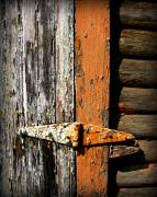 Wooden Shed Framed Prints - Rustic Barn Hinge Framed Print by Perry Webster