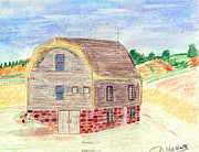 Old Barn Drawings - Rustic barn by John Hoppy Hopkins