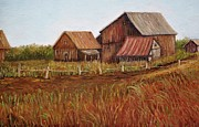 Autumn Scenes Painting Framed Prints - Rustic Barns Framed Print by Reb Frost