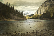 Snow Storm Prints Framed Prints - Rustic Bow River Framed Print by Andrea Hazel Ihlefeld