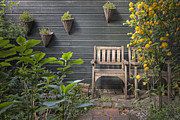 Empty Chairs Prints - Rustic Chairs in Garden Print by Andersen Ross