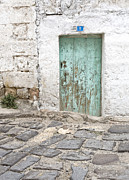 Blue Bricks Posters - Rustic Door No. 8 Poster by Glennis Siverson