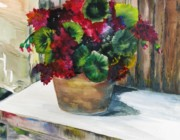 Terra Painting Originals - Rustic Geraniums by Arry Murphey