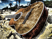Sandstone Beach Framed Prints - Rustic Guitar Framed Print by Jason Abando