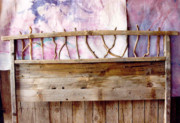 Country Art Sculpture Prints - Rustic Headboard Print by Thor Sigstedt