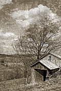 Tin Roof Posters - Rustic Hillside Barn Poster by John Stephens