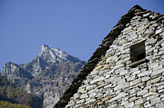 Stone House Photo Framed Prints - Rustic house and mountain Framed Print by Mats Silvan