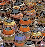 Southwest Mixed Media - Rustic Indian Pots by Linda  Parker