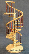 Staircase Sculptures - Rustic miniature spiral staircase by Don Lorenzen