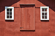 Paint Photograph Prints - Rustic Red Barn Door with Two White Wood Windows Print by David Letts