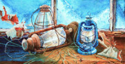 Hurricane Lamp Prints - Rustic Relics Print by Hanne Lore Koehler