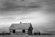 Prairie Art Prints Prints - Rustic Rural House in the Country BW Print by James Bo Insogna