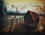 Shed Painting Framed Prints - Rustic Shed Framed Print by Suzanne Roach