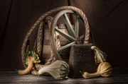 Wagon Wheel Metal Prints - Rustic Still Life Metal Print by Tom Mc Nemar