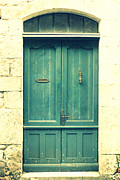 Images Of France Framed Prints - Rustic teal green door Framed Print by Georgia Fowler
