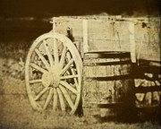 Wood Wheel Prints - Rustic Wagon and Barrel Print by Tom Mc Nemar