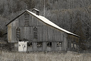 Tin Roof Framed Prints - Rustic Weathered Mountainside Cupola Barn Framed Print by John Stephens