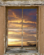 Bo Insogna Framed Prints - Rustic Window Colorful Sky View Framed Print by James Bo Insogna