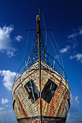 Wooden Ship Prints - Rusting boat Print by Stylianos Kleanthous