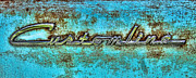 Blue And Rust Framed Prints - Rusting Ford Chrome Insignia Framed Print by Tony Grider