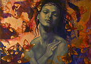 Purple Art Posters - Rustle Poster by Dorina  Costras