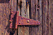 Rusty Door Framed Prints - Rusty barn door hinge  Framed Print by Garry Gay
