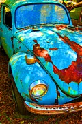 Rusted Cars Digital Art Framed Prints - Rusty Blue Framed Print by Kendra Clayton