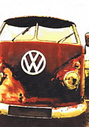Volkswagen Pastels Prints - Rusty Bus Print by Sharon Poulton