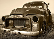 Sepia Digital Art Originals - Rusty But Trusty Old GMC Pickup by Gordon Dean II