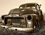 Barn Digital Art Framed Prints - Rusty But Trusty Old GMC Pickup Truck - Sepia Framed Print by Gordon Dean II