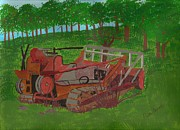 Machinery Painting Posters - Rusty Caterpillar Poster by Juanita Couch