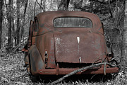 Abandoned Cars Prints - Rusty Coupe Rear View Print by John Stephens