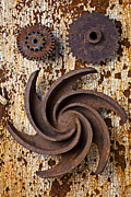 Mechanism Framed Prints - Rusty Gears Framed Print by Garry Gay