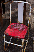 Empty Chairs Framed Prints - Rusty Metal Chair Framed Print by Garry Gay