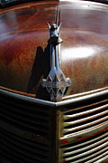 Rusted Cars Photo Acrylic Prints - Rusty Old 1935 International Truck Hood Ornament. 7D15503 Acrylic Print by Wingsdomain Art and Photography
