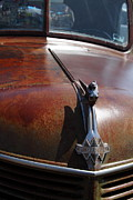 Rusted Cars Photo Acrylic Prints - Rusty Old 1935 International Truck Hood Ornament. 7D15506 Acrylic Print by Wingsdomain Art and Photography