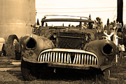 Sepia Photos Posters - Rusty Old American Car . 7D10343 . sepia Poster by Wingsdomain Art and Photography