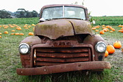 Melons Posters - Rusty Old GMC Truck At The Pumpkin Patch . 7D8395 Poster by Wingsdomain Art and Photography